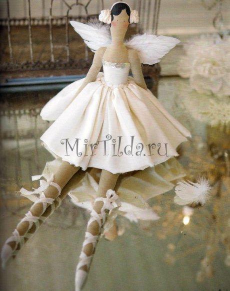 Кукла тильда балерина с крыльями