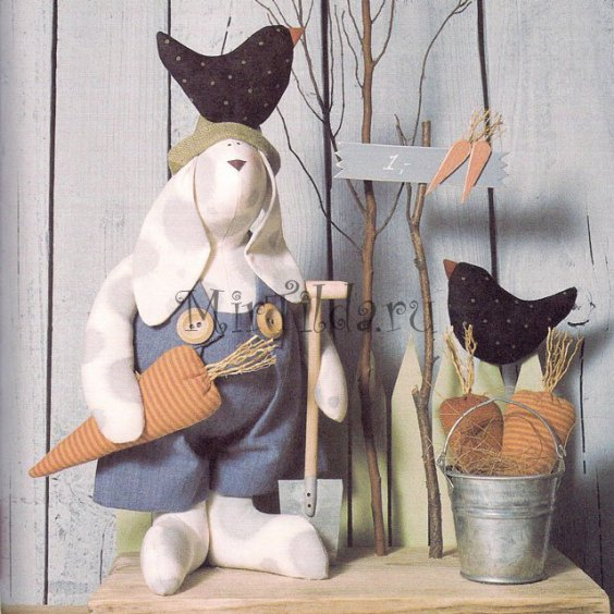 Тильда заяц большой в огороде