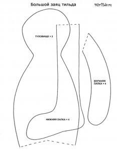 Выкройка зайца тильды