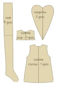 Выкройка беременной тильды - нога и сердечко
