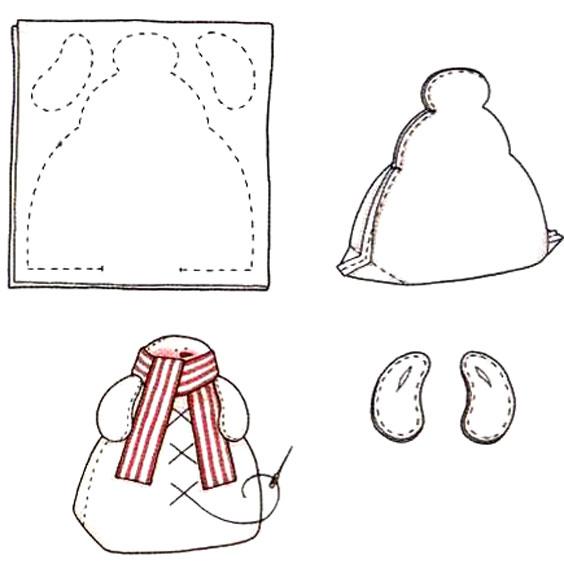 Тильда снеговик с ручками - схема шитья