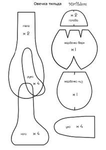 Овечка тильда - выкройка
