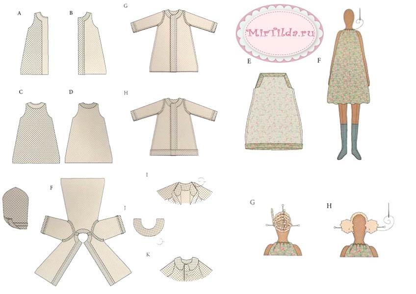 Морская тильда девочка - схема шитья