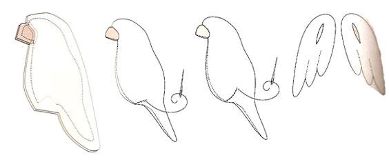 Тильда попугай - схема шитья