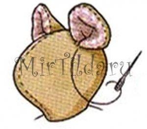 Пришиваем уши к голове мышки