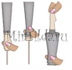 Выворачиваем ножки с помощью палочек