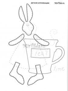 Выкройка аппликации зайца тильда