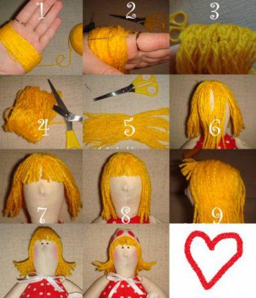 Волосы для тильды из пряжи