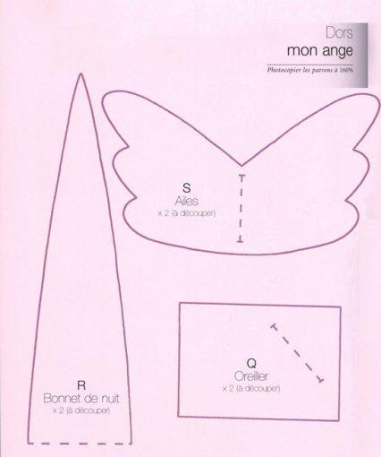 Выкройка крыльев и колпачка